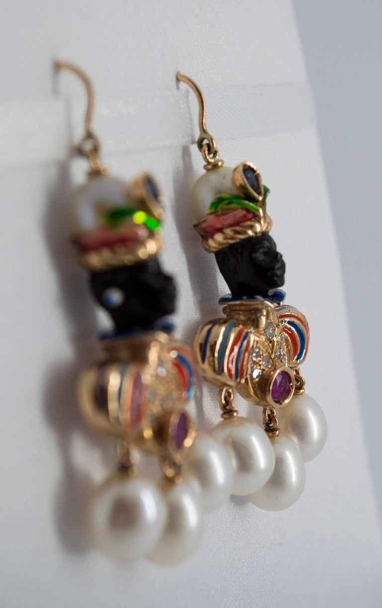 Ruby Sapphire Pearl Yellow Gold Ebony Moor of Venice Earrings In As New Condition For Sale In Naples, IT