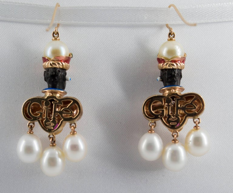 Women's or Men's Ruby Sapphire Pearl Yellow Gold Ebony Moor of Venice Earrings For Sale