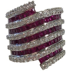 Ruby Square and White Diamond Cocktail Ring in 18 Karat White Gold