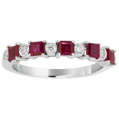 Ruby Square White Diamond Round Gold Fashion 11-Stone Fashion Band Ring
