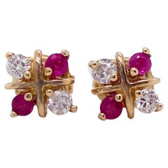 Ruby Stud Earrings with Diamonds X Design in 14 Karat Yellow Gold Posts