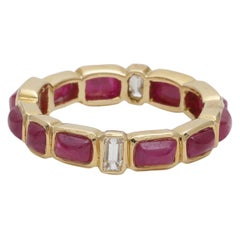 Ruby Sugarloaf and Diamond Baguette Stackable Eternity Ring in 18 Karat Gold