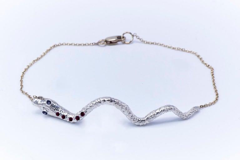 Round Cut Ruby Tanzanite Snake Bracelet Serpens Gold Fashion Jewelry J Dauphin For Sale