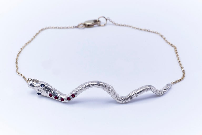 Ruby Tanzanite Snake Bracelet Serpens Gold Fashion Jewelry J Dauphin In New Condition For Sale In Los Angeles, CA