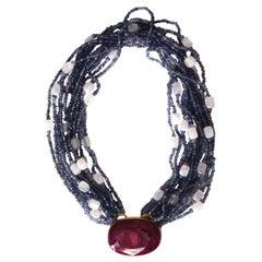 Ruby Tanzanite Rose Quartz 18 Karat Gold Necklace