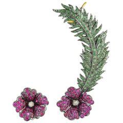 Ruby Tsavorite Floral Diamond Ear Cuff Earrings