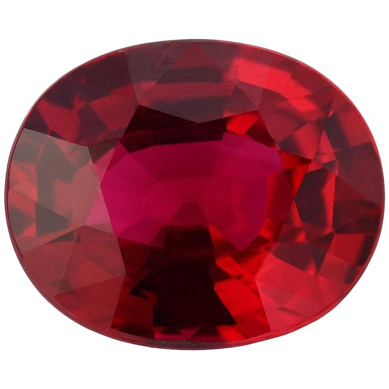 Ruby Unheated Oval 2.09 Carat AGL Certified No Heat For Sale