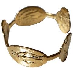 Ruby Virgin Mary Bracelet Bangle Gold-Plated Brass J Dauphin