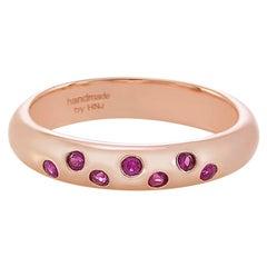 Ruby Wedding Band Polka Dot Ring in 18k Rose Gold