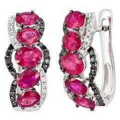 Ruby White Diamond Black Diamond White Gold Every Day Lever-Back Earrings