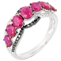 Ruby White Diamond Black Diamond White Gold Every Day Statement Ring