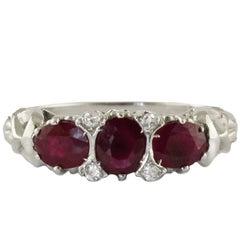 Ruby White Diamond White Gold Trilogy  Ring