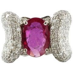 Ruby White Diamonds White Gold Fashion Ring