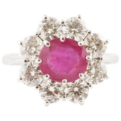 Ruby, White Diamonds, White Gold, Flower Shape Design Fashion Ring