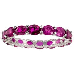 Ruby White Gold Eternity Ring Size 6.5