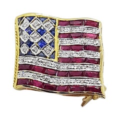Ruby with Blue Sapphire and Diamond American Flag Brooch in 18K Gold