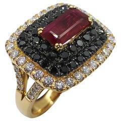 Ruby with Diamond and Black Diamond Ring Set in 18 Karat Rose Gold Settings