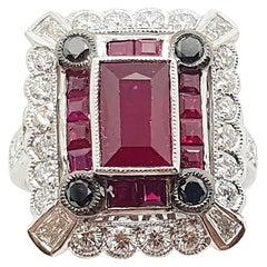 Ruby with Diamond and Black Diamond Ring Set in 18 Karat White Gold Settings