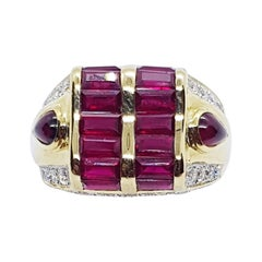 Ruby with Diamond and Cabochon Ruby Ring Set in 18 Karat Gold Settings