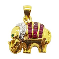 Ruby with Diamond and Emerald Elephant Pendant Set in 18 Karat Gold Settings