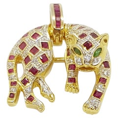 Ruby with Diamond and Emerald Panther Pendant/Brooch in 18 Karat Gold
