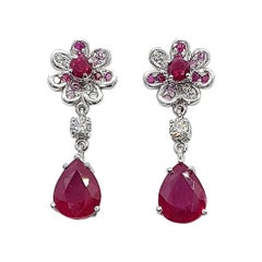 Ruby with Diamond and Pink Sapphire Flower Earrings Set in 18 Karat White Gold