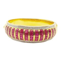 Ruby with Diamond Bangle Set in 18 Karat Gold Settings