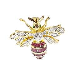 Ruby with Diamond Bee Brooch Set in 18 Karat Gold Settings