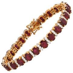 Ruby with Diamond Bracelet Set in 18 Karat Gold Setting