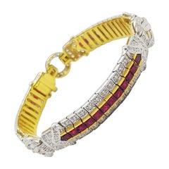 Ruby with Diamond Bracelet Set in 18 Karat Gold Settings