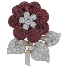 Ruby with Diamond Flower Brooch Set in 18 Karat Gold Settings