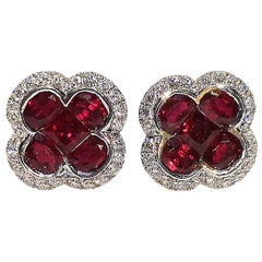 Ruby with Diamond Clover Earrings Set in 18 Karat White Gold Settings