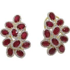 Ruby with Diamond Earrings Set in 18 Karat Gold Setting