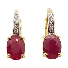 Ruby with Diamond Earrings Set in 18 Karat Gold Settings
