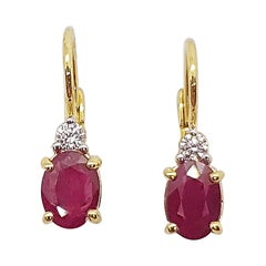 Ruby with Diamond Earrings Set in 18 Karat Gold Settings