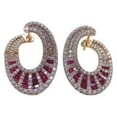 Ruby with Diamond Earrings Set in 18 Karat Rose Gold Set