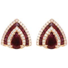 Ruby with Diamond Earrings Set in 18 Karat Rose Gold Settings