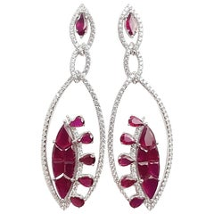 Ruby with Diamond Earrings Set in 18 Karat White Gold Settings
