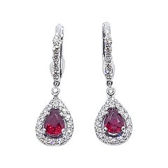 Ruby with Diamond Earrings Set in 18 Karat White Gold Settings