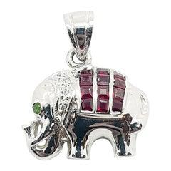 Ruby with Diamond Elephant Pendant Set in 18 Karat White Gold Settings