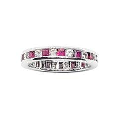 Ruby with Diamond Eternity Ring Set in 18 Karat White Gold Settings