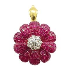 Ruby with Diamond Flower Brooch/Pendant Set in 18 Karat Gold Settings