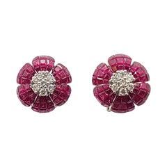 Ruby with Diamond Flower Earrings Set in 18 Karat White Gold Settings