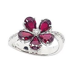 Ruby with Diamond Flower Ring Set in 18 Karat White Gold Setting