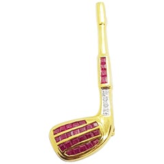Ruby with Diamond Golf Brooch Set in 18 Karat Gold Settings