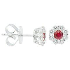 Ruby with Diamond Halo Studs