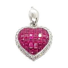 Ruby with Diamond Heart Pendant Set in 18 Karat White Gold Settings