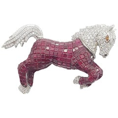 Ruby with Diamond Horse Brooch/Pendant Set in 18 Karat White Gold Setting