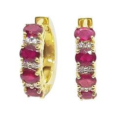 Ruby with Diamond Huggies/Hoop Earrings Set in 18 Karat Gold Settings