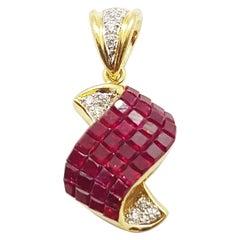 Ruby with Diamond Pendant Set in 18 Karat Gold Settings